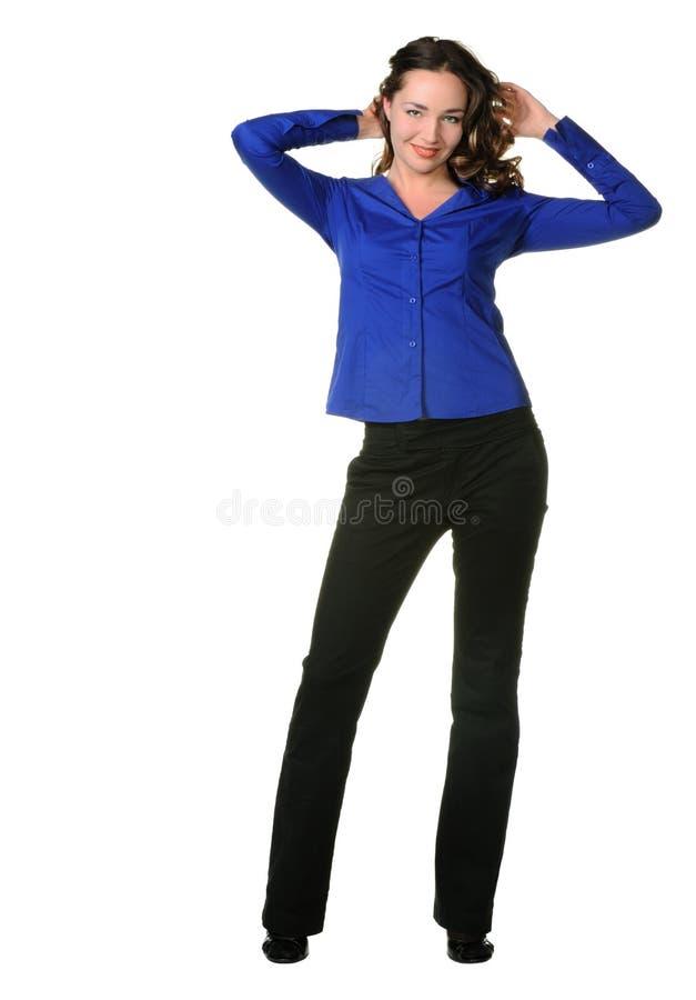 Het aantrekkelijke meisje in broeken royalty-vrije stock fotografie