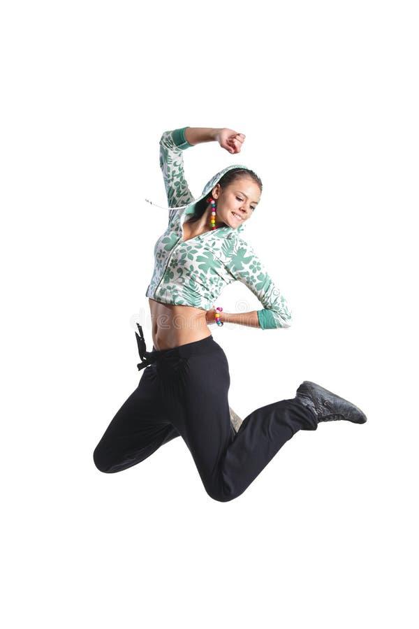 Het aantrekkelijke meisje springen royalty-vrije stock foto's