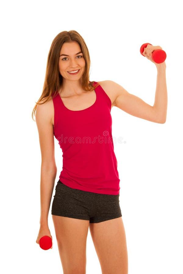Het aantrekkelijke sportieve portret van de vrouwenstudio van actieve geschikte geschiktheidsgi stock afbeeldingen