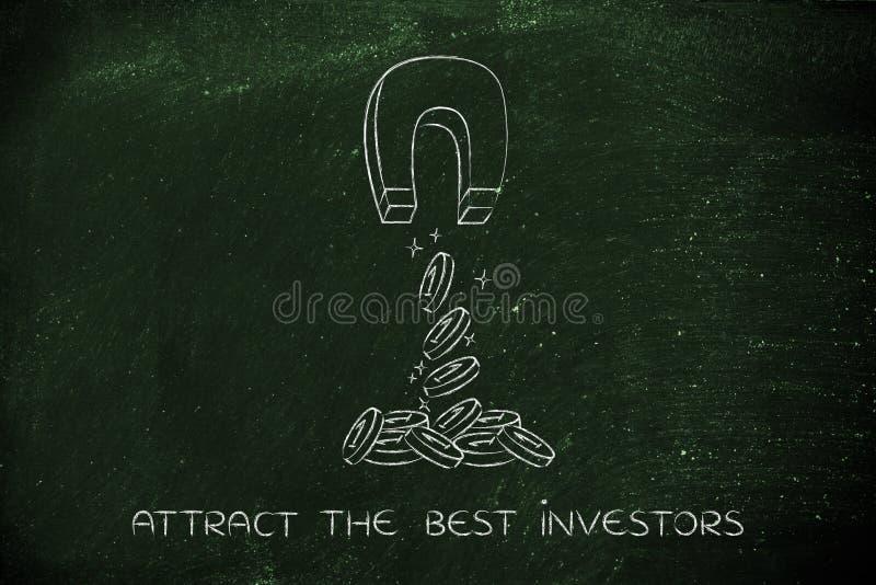 Het aantrekken van muntstukken met magneet, investeringsconcept stock afbeeldingen