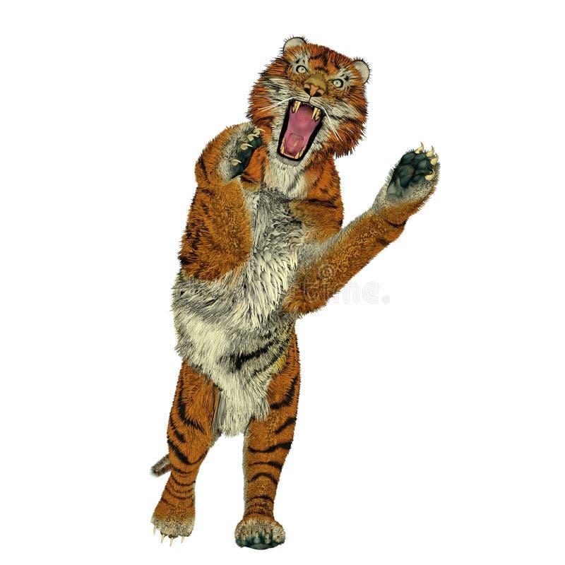 Het aanvallen van de tijger royalty-vrije illustratie