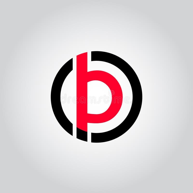 Het aanvankelijke Brievenembleem B binnen cirkelvorm, OB, BO, B binnen O maakte zwarte en rode kleurenvector rond in kleine lette royalty-vrije illustratie
