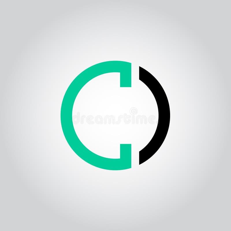 Het aanvankelijke Brievenembleem C binnen cirkelvorm, OC, Co, C binnen O maakte zwarte en groene kleurenvector rond in kleine let royalty-vrije illustratie