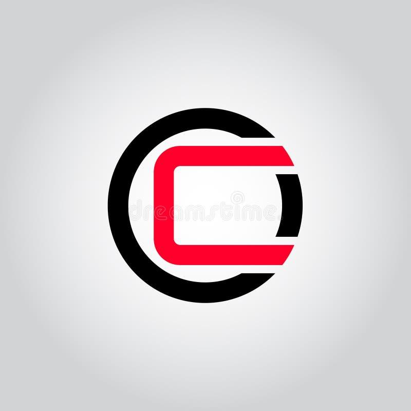 Het aanvankelijke Brievenembleem C binnen cirkelvorm, OC, Co, C binnen O maakte zwarte en rode kleurenvector rond in kleine lette stock illustratie
