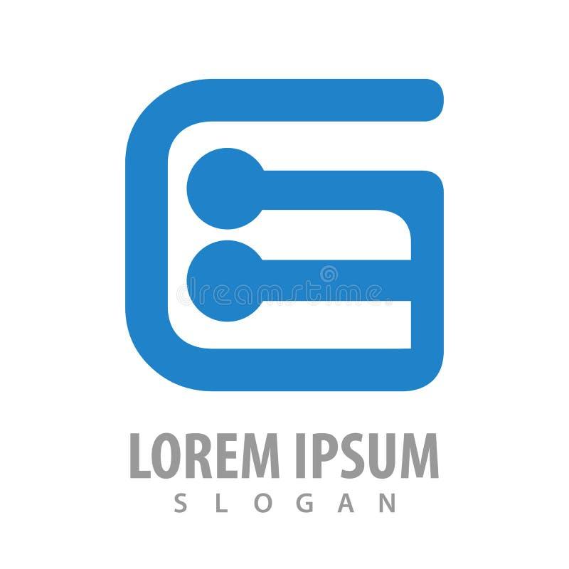 Het aanvankelijke conceptontwerp van het brieveng gebogen embleem Het elementenvector van het symbool grafische malplaatje stock illustratie