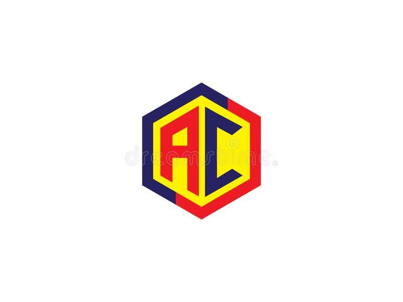 Het aanvankelijke Element van Logo Vector Graphic Branding Letter van het Brievenac hexagon Ontwerp royalty-vrije illustratie