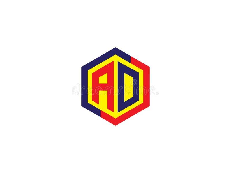 Het aanvankelijke Element van het Ontwerplogo vector graphic branding letter van de Brievenadvertentie hexagon stock illustratie
