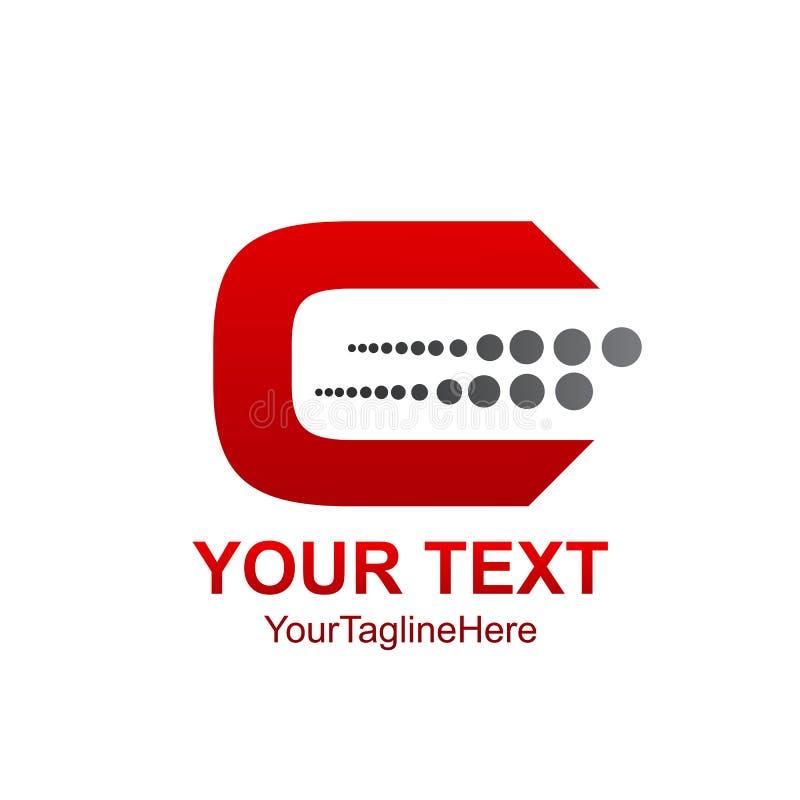 Het aanvankelijke gekleurde rood van het brievenc embleem malplaatje met halftone ontwerp stock illustratie