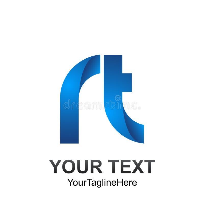 Het aanvankelijke malplaatje van het brievenrechts embleem kleurde blauw ontwerp voor zaken stock illustratie