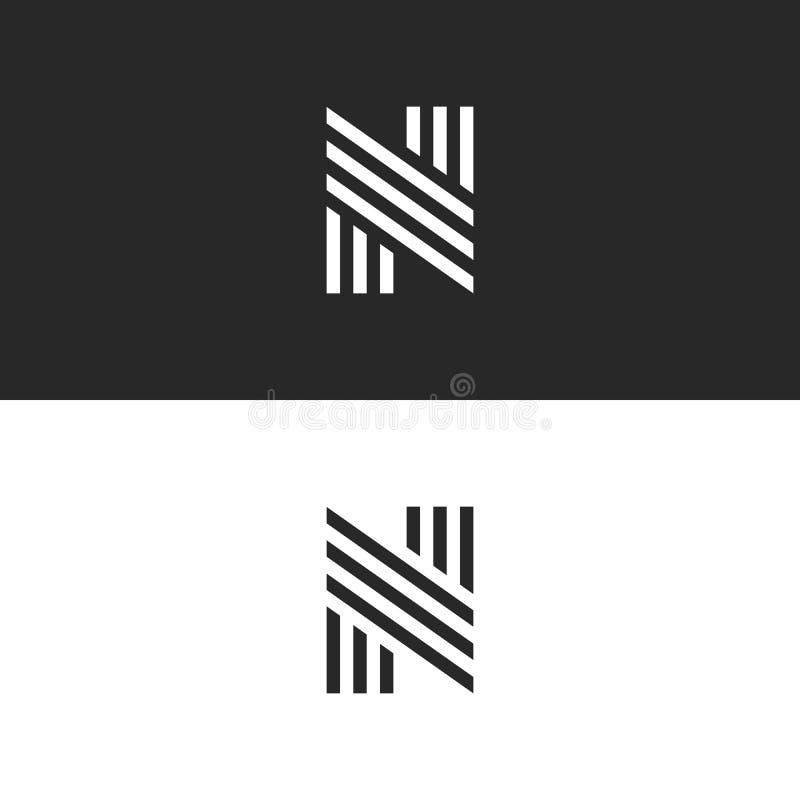 Het aanvankelijke monogram van de embleemn brief, hipster eenvoudig identiteitssymbool, zwart-wit lineair het elementenmodel van  royalty-vrije illustratie