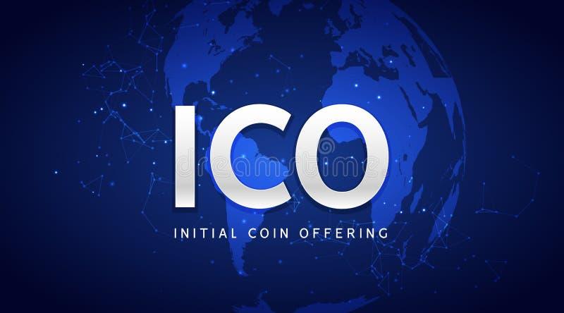 Het aanvankelijke muntstuk die van ICO achtergrondillustratie aanbieden Blockchain bedrijfs digitaal icocrypto bedrijf stock illustratie