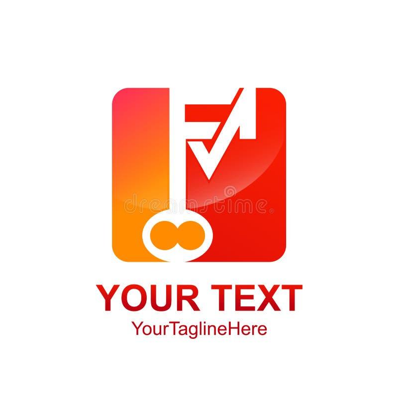Het aanvankelijke van het het embleemmalplaatje van brievenfm zeer belangrijke vierkante ontwerp voor zaken a vector illustratie