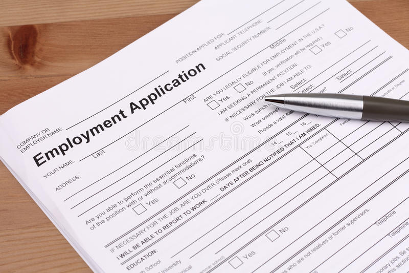 Het Aanvraagformulier van de werkgelegenheid stock foto