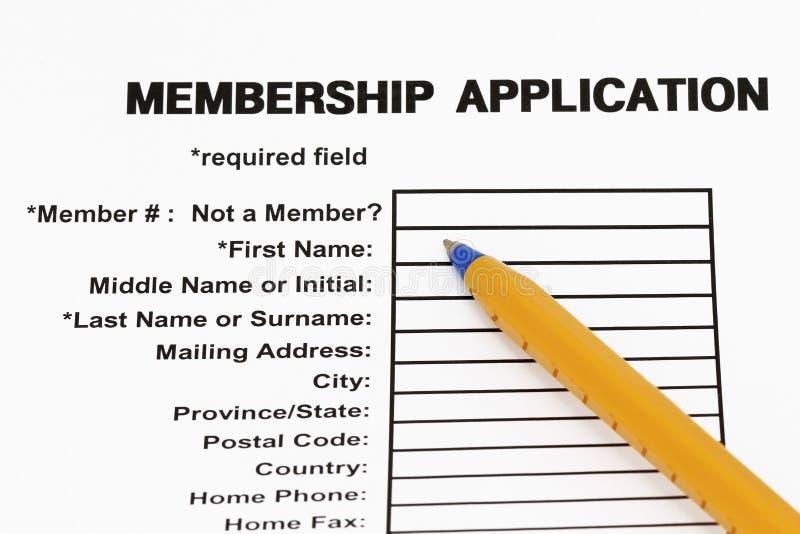 Het aanvraagformulier van het lidmaatschap royalty-vrije stock afbeeldingen