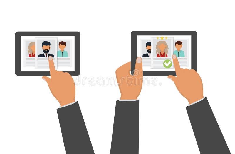 Het aanwerven van agentschap Het huren en rekruteringsconcept Baangesprek, de vectorillustratie van het rekruteringsagentschap stock illustratie
