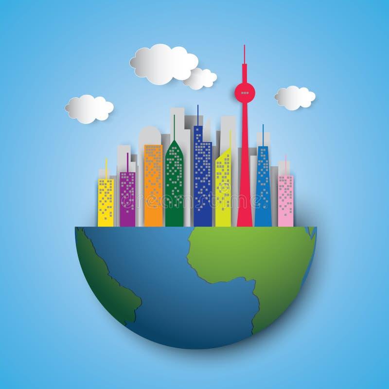 Het aardehoogtepunt van hoge torens vector illustratie