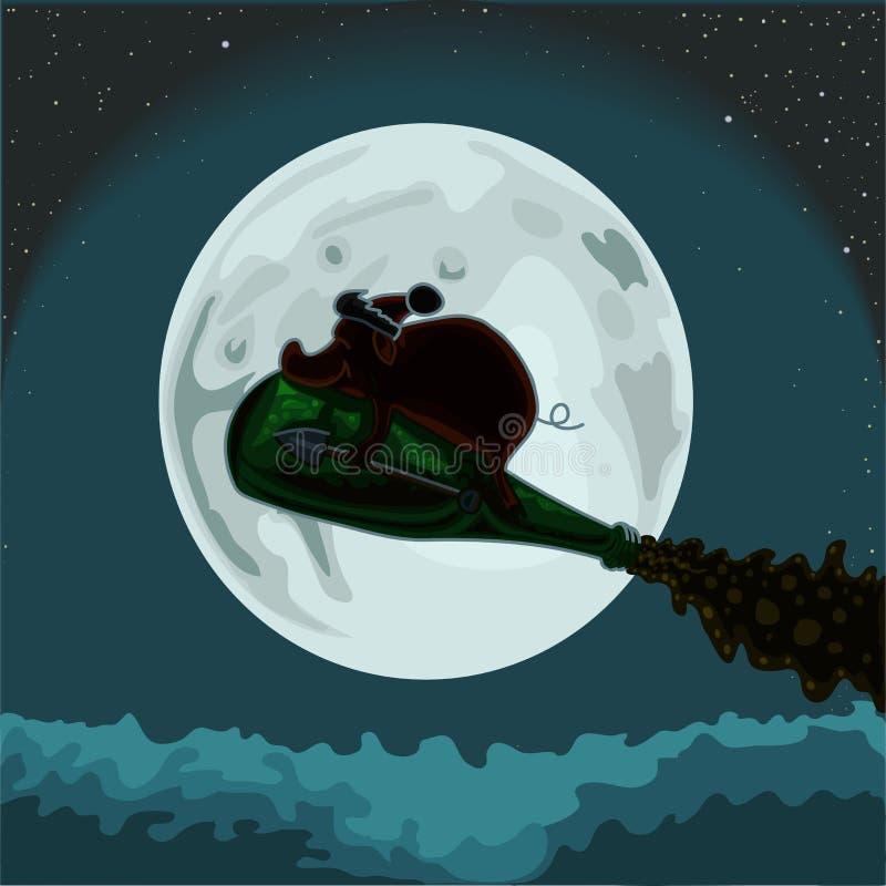 Het aarden varken vliegt op een fles champagne op de achtergrond van de maan, vectorillustratie vector illustratie