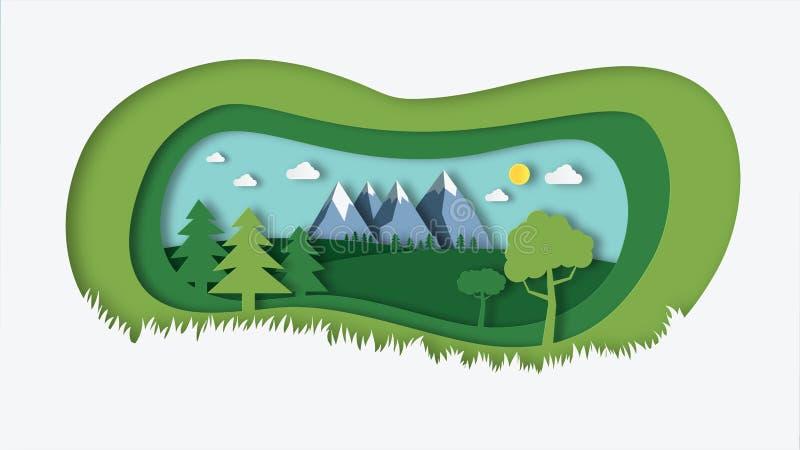 het aardlandschap met document sneed de illustratie van het stijlontwerp Groen natuurlijk gebied met bomen, heuvels, bergen en he stock illustratie