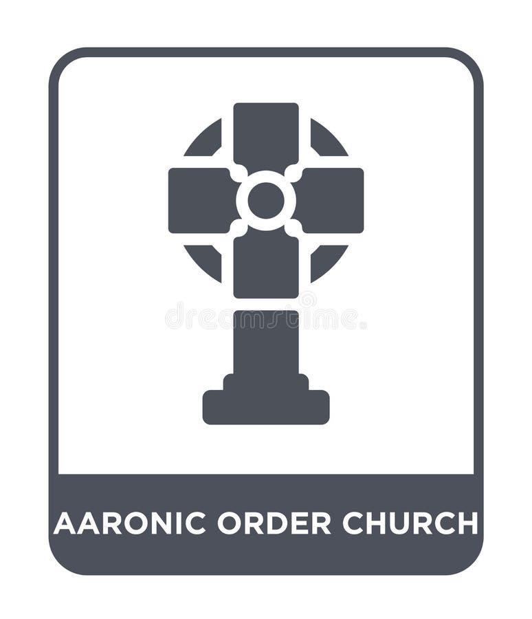 het aaronic pictogram van de ordekerk in in ontwerpstijl het aaronic pictogram van de ordekerk dat op witte achtergrond wordt geï stock illustratie