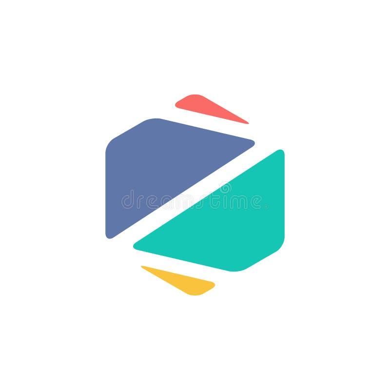 Het abstracte Aanvankelijke Hexagon Symbool van Z Kleurrijk creatief Word Art. vector illustratie
