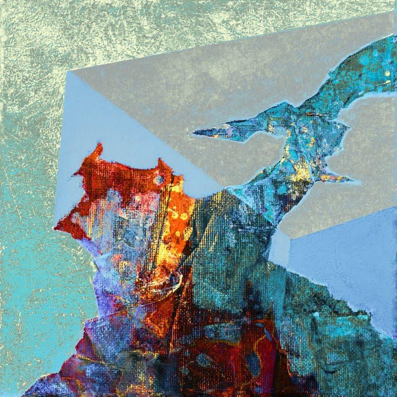 Het abstracte acryl schilderen met kleurrijke patronen stock afbeeldingen