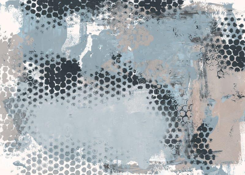 Het abstracte acryl schilderen in schaduwen van grijs en blauw royalty-vrije illustratie