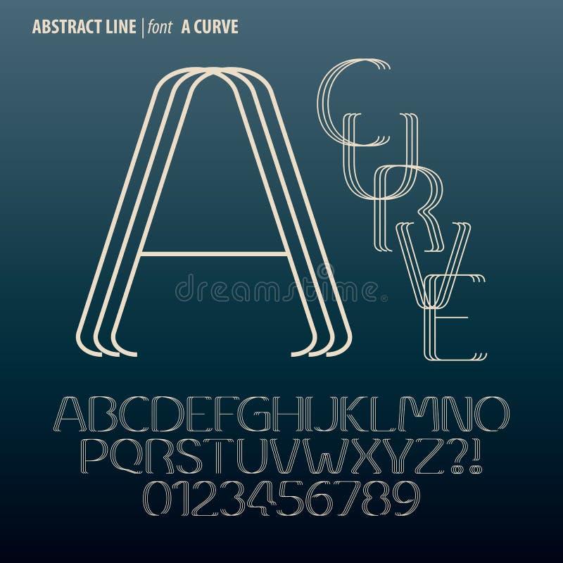 Het abstracte Alfabet van de Krommelijn en Cijfervector stock illustratie