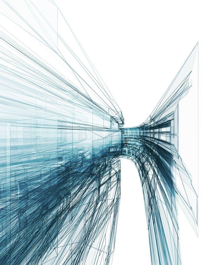 Het abstracte architectuur 3d teruggeven als achtergrond stock illustratie