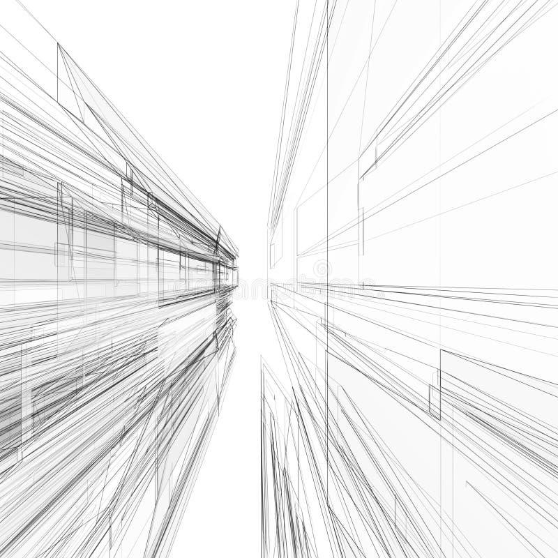 Het abstracte architectuur 3d teruggeven als achtergrond vector illustratie