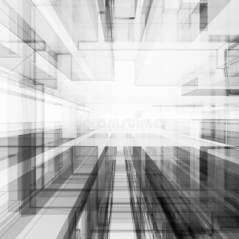 Het abstracte architectuur 3d teruggeven royalty-vrije illustratie