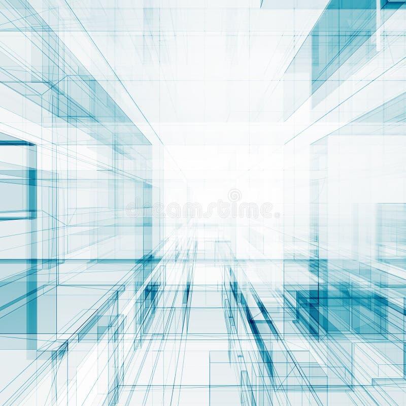 Het abstracte architectuur 3d teruggeven stock illustratie