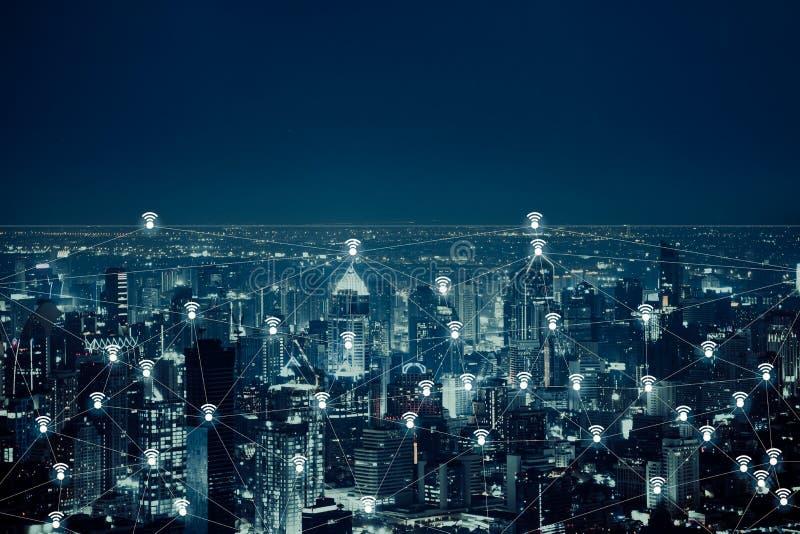 Het abstracte beeld van het draadloze netwerk en wificoncept van de verbindingstechnologie met de stad van Bangkok vector illustratie