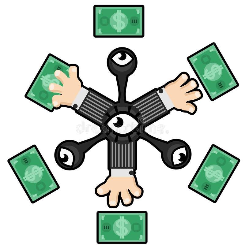 Het Abstracte Beeldverhaal van de geldgreep stock illustratie