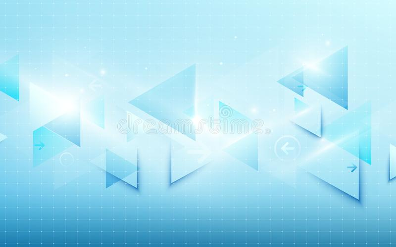 Het abstracte blauwe concept van technologie digitale hallo technologie en driehoeken glanzende achtergrond Ruimte voor uw tekst royalty-vrije illustratie