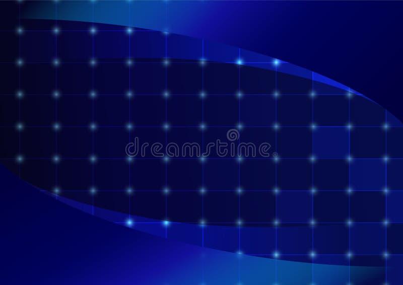Het abstracte blauwe kaderontwerp als achtergrond, de Lijnlijst en het effect stippelen het conceptenachtergrond van technologiee stock illustratie