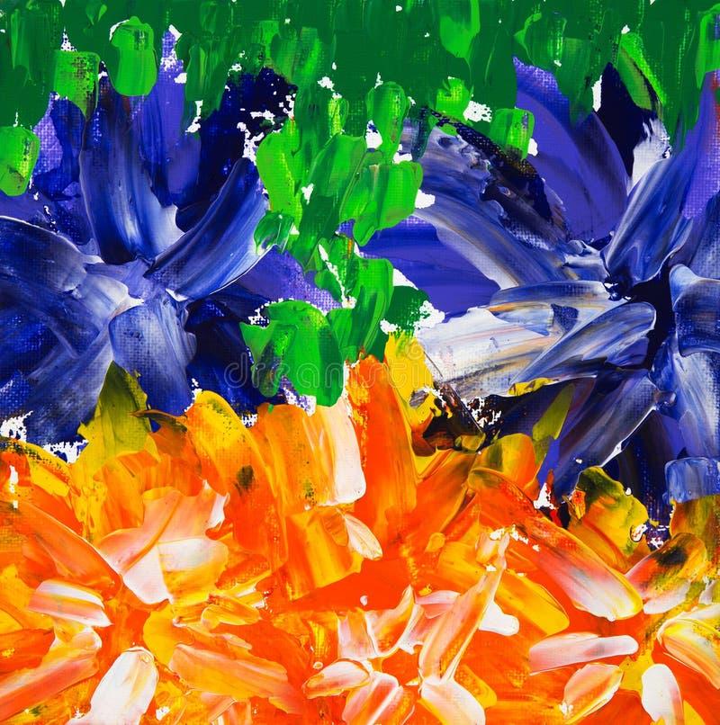 het abstracte bloemen schilderen stock illustratie