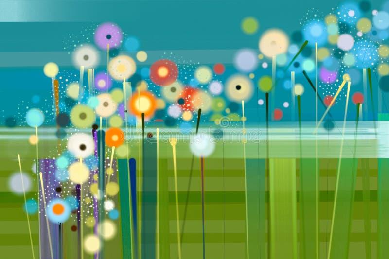 Het abstracte bloemenolieverf schilderen royalty-vrije illustratie