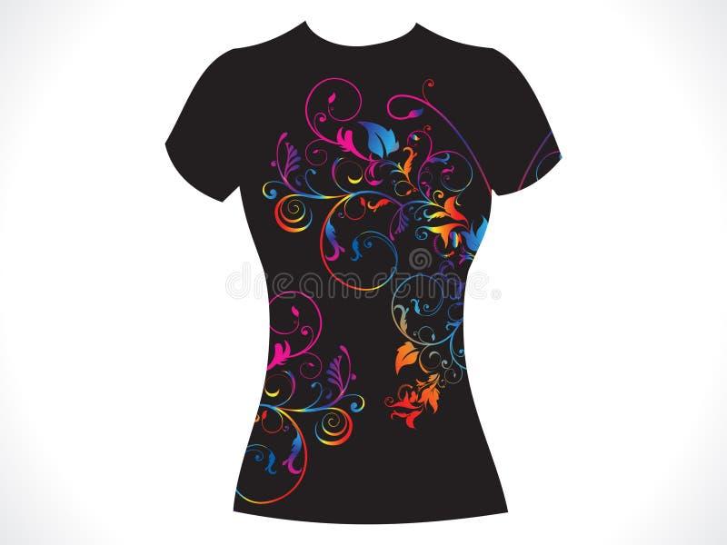 Het abstracte bloemenontwerp van de meisjest-shirt vector illustratie
