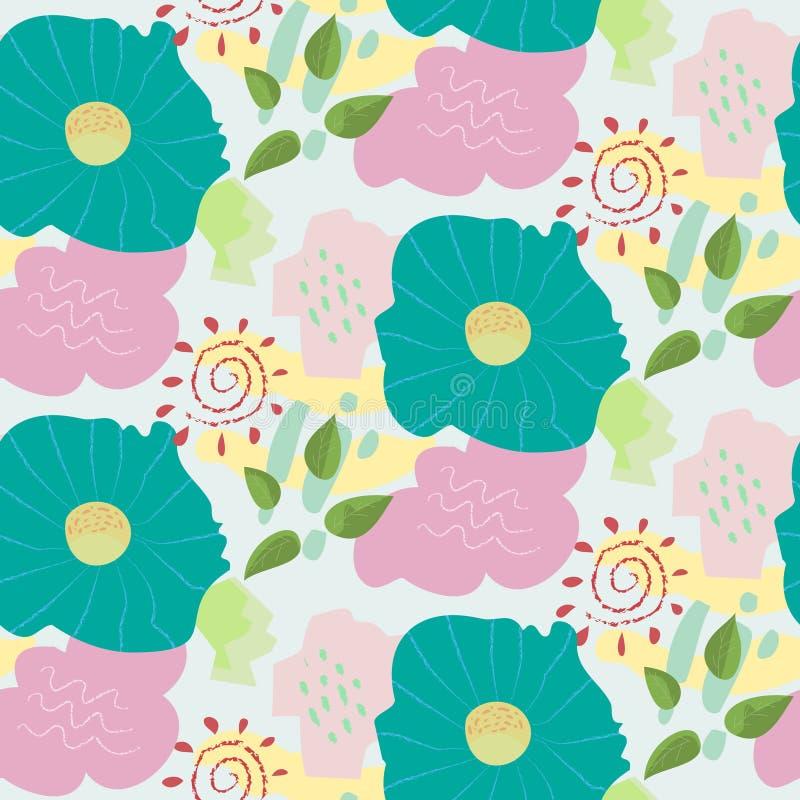 Het abstracte bloemenpatroon van de krabbel kinderachtige kleur stock illustratie