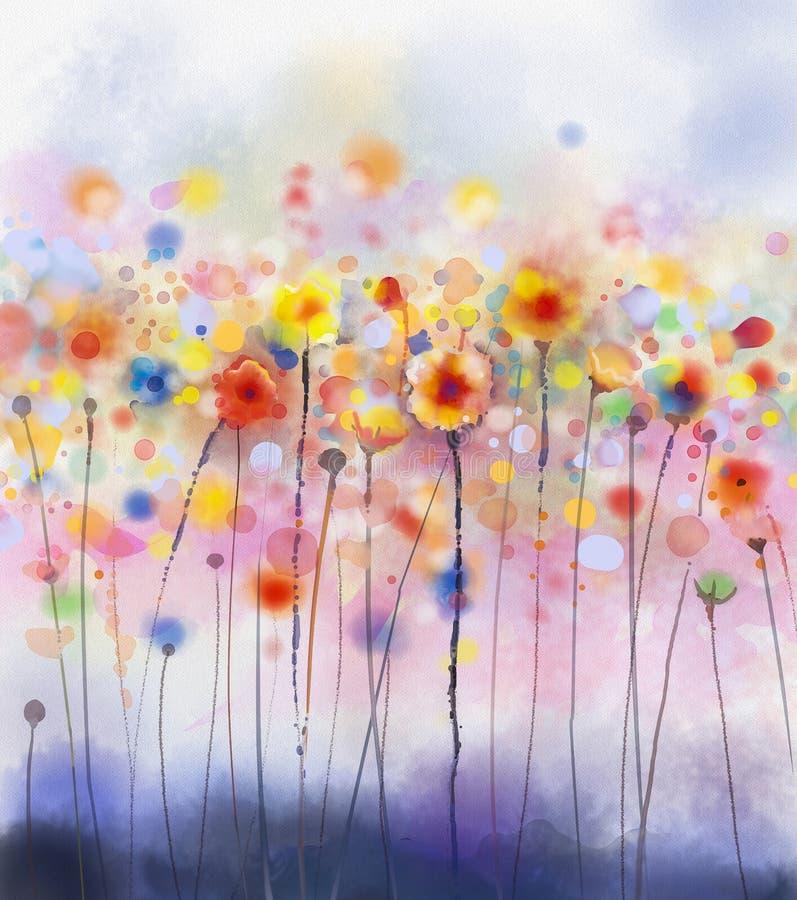 Het abstracte bloemenwaterverf schilderen vector illustratie