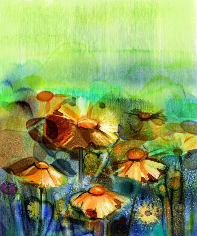 Het abstracte bloemwaterverf schilderen royalty-vrije illustratie