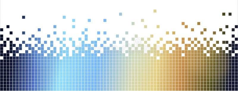 Het abstracte colurful mozaïek achtergrond-pixelated in blauw en bruin stock illustratie