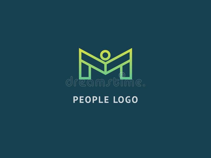 Het abstracte communautaire vectorontwerp van het embleempictogram Creatief agentschap, maatschappelijk werk, groepswerk, zaken,  stock illustratie