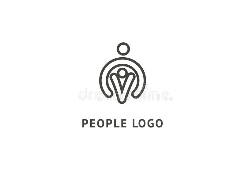 Het abstracte communautaire vectorontwerp van het embleempictogram Creatief agentschap, maatschappelijk werk, groepswerk, zaken,  royalty-vrije illustratie