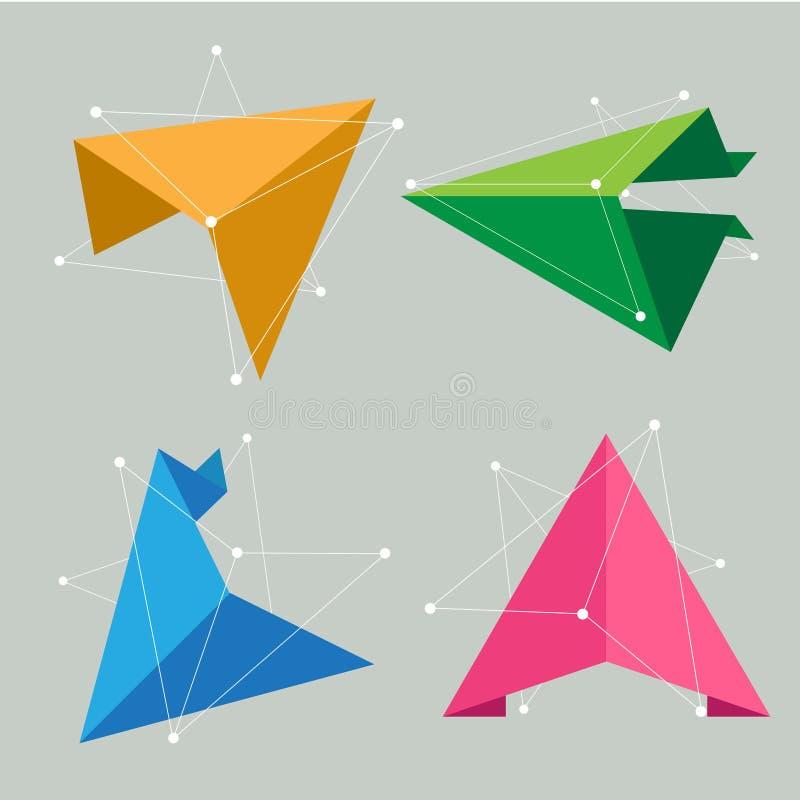 Het abstracte concept van de origamiwetenschap stock illustratie