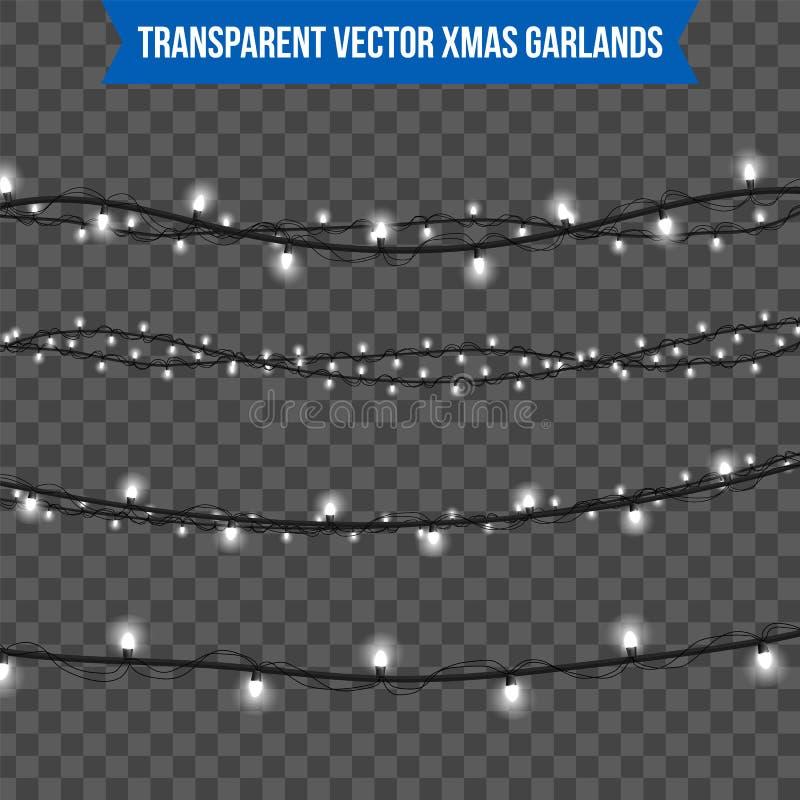 Het abstracte creatieve die licht van de Kerstmisslinger op achtergrond wordt geïsoleerd malplaatje Vectorillustratie clipart kun stock fotografie