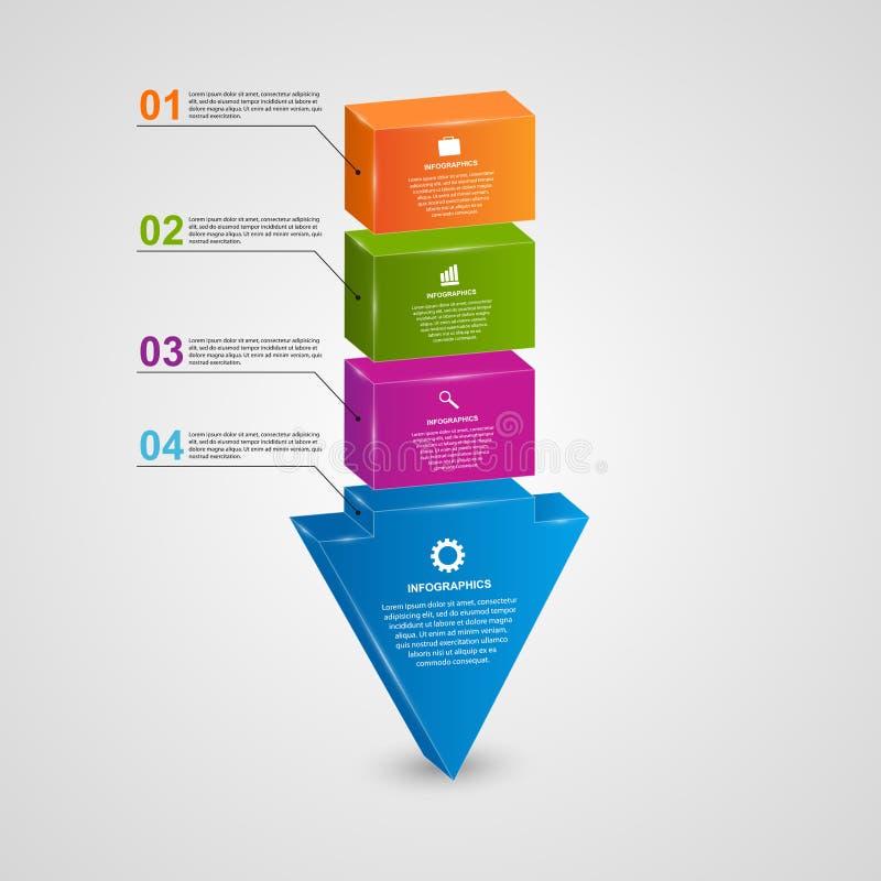Het abstracte 3d concept van het pijl infographic ontwerp stock illustratie
