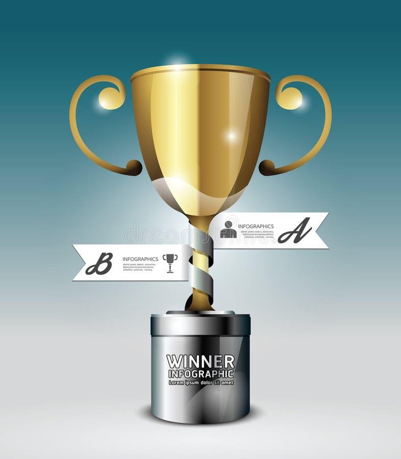 Het abstracte 3d malplaatje van de het Ontwerpstijl van Infographic van de winnaartrofee. stock illustratie