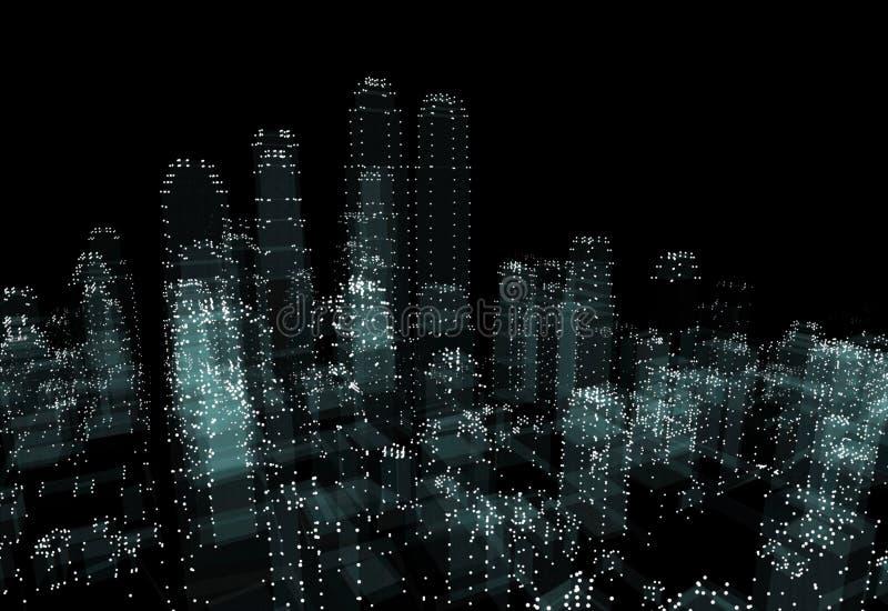Het abstracte 3d stad teruggeven royalty-vrije illustratie