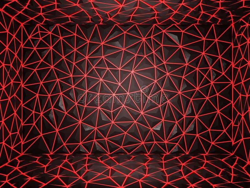 Het abstracte 3d teruggeven van Achtergrond van de darck de rode oppervlakte met futur royalty-vrije illustratie
